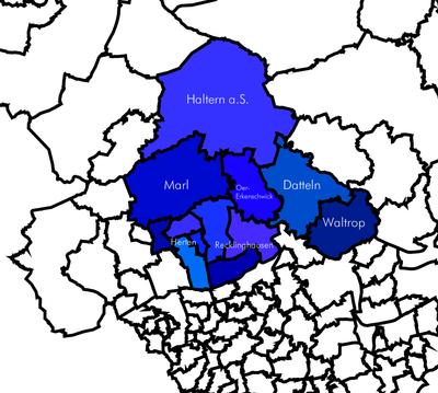 Umrisse der Kirchengemeinden im Kirchenkreis Recklinghausen