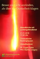 Lichtergottesdienst in der Christuskirche zum Ende der Weihnachtszeit am Sonntag, 21. Januar um 17 Uhr