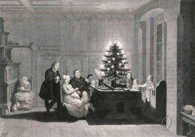 """Carl August Schwerdgeburth, """"Dr. Martin Luther im Kreise seiner Familie zu Wittenberg am Christabend 1536"""", Stahlstich 1843, Luthersammlung des IKZG-RELuthersammlung des IKZG-RE"""